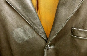 Adhesive-backed name tags can ruin leather garments