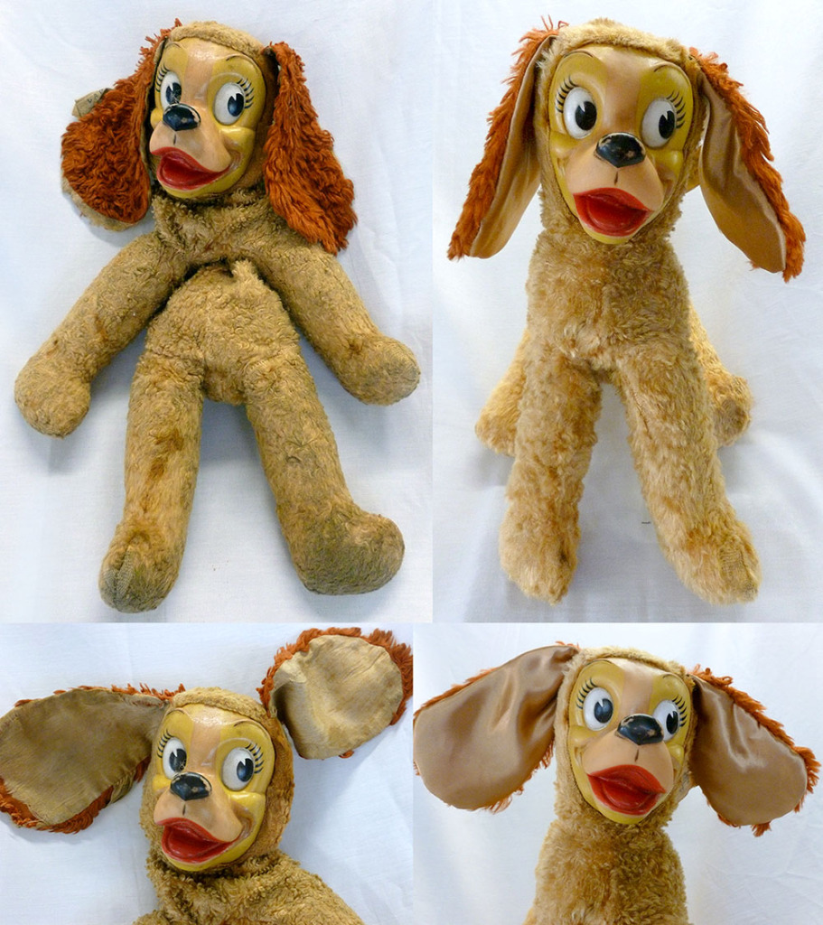 Restuffed and cleaned, this antique spaniel deserves a hug