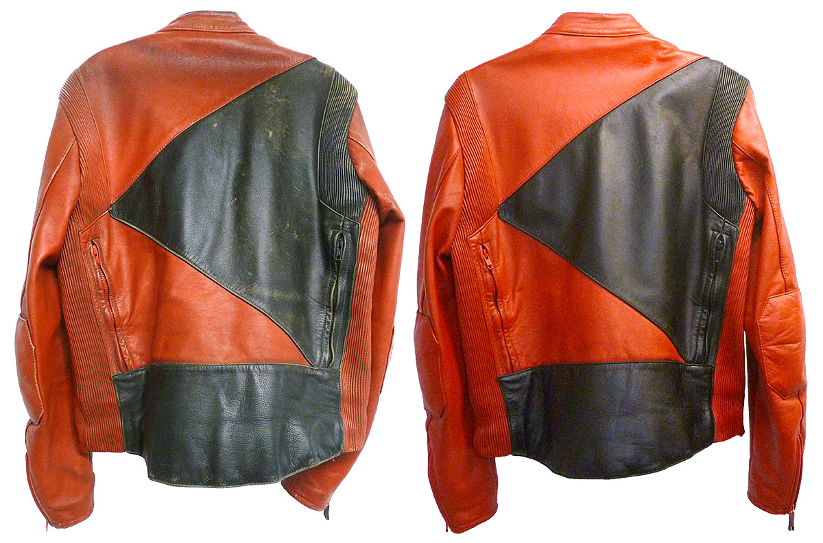 Oil coated the shoulders of this motocross jacket
