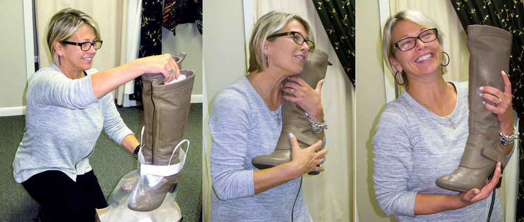Andrea gets her cherished designer boots back from cleaning!