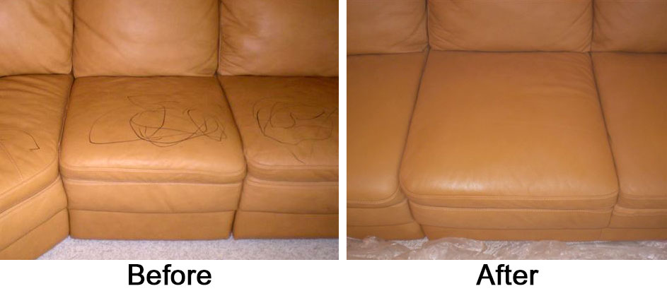Sofa with Ink Before and Afer
